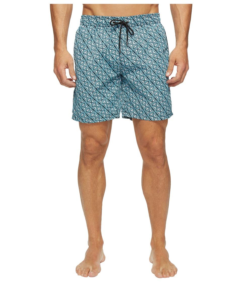 Mr. Swim - Triangular Printed Dale Swim Trunk (Turquoise) Men's Swimwear