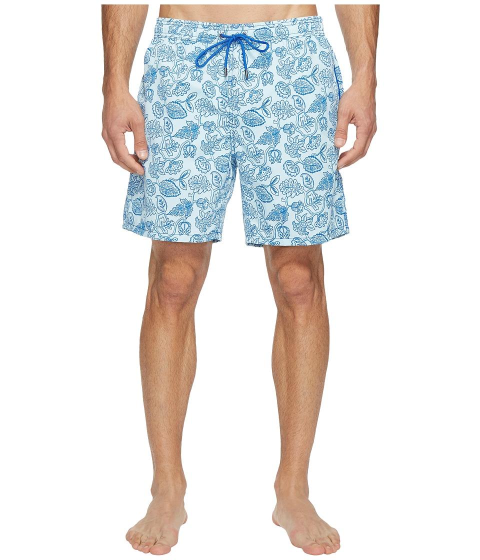 Mr. Swim - Leafy Floral Printed Dale Swim Trunk (Blue) Men's Swimwear