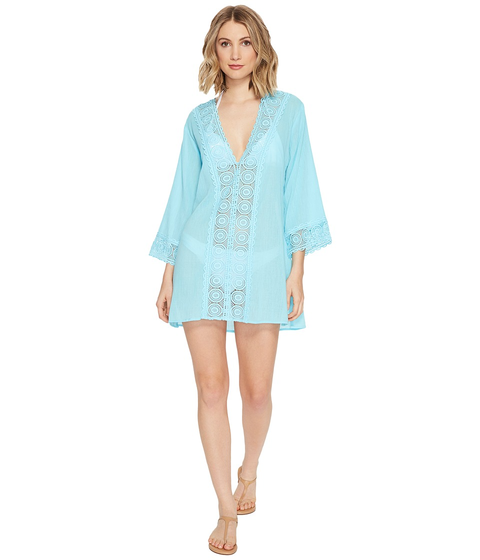 La Blanca - Island Fare V-Neck Tunic Cover-Up (Ice Blue) Women's Blouse