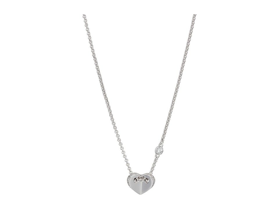 Fossil - Sterling Folded Heart Necklace (Silver Tone) Necklace