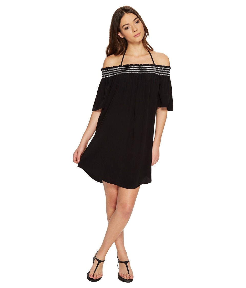 Seafolly - Spice Temple Smocked Off Shoulder Dress Cover-Up (Black) Women's Swimwear