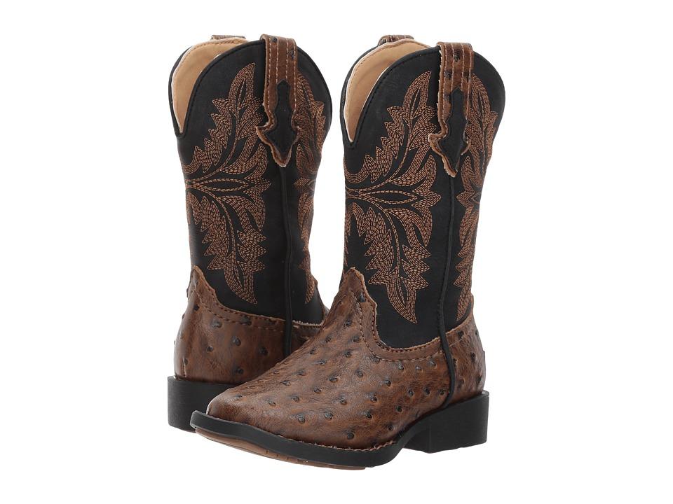 Roper Kids Jed (Toddler/Little Kid) (Brown Faux Ostrich Vamp Black Shaft) Cowboy Boots