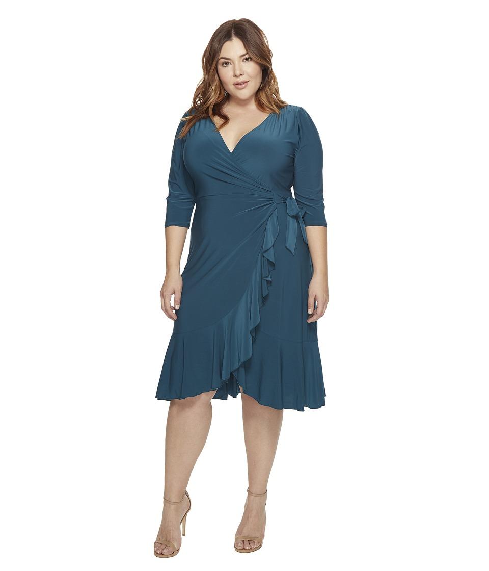 Kiyonna Whimsy Wrap Dress (Teal Abyss) Women