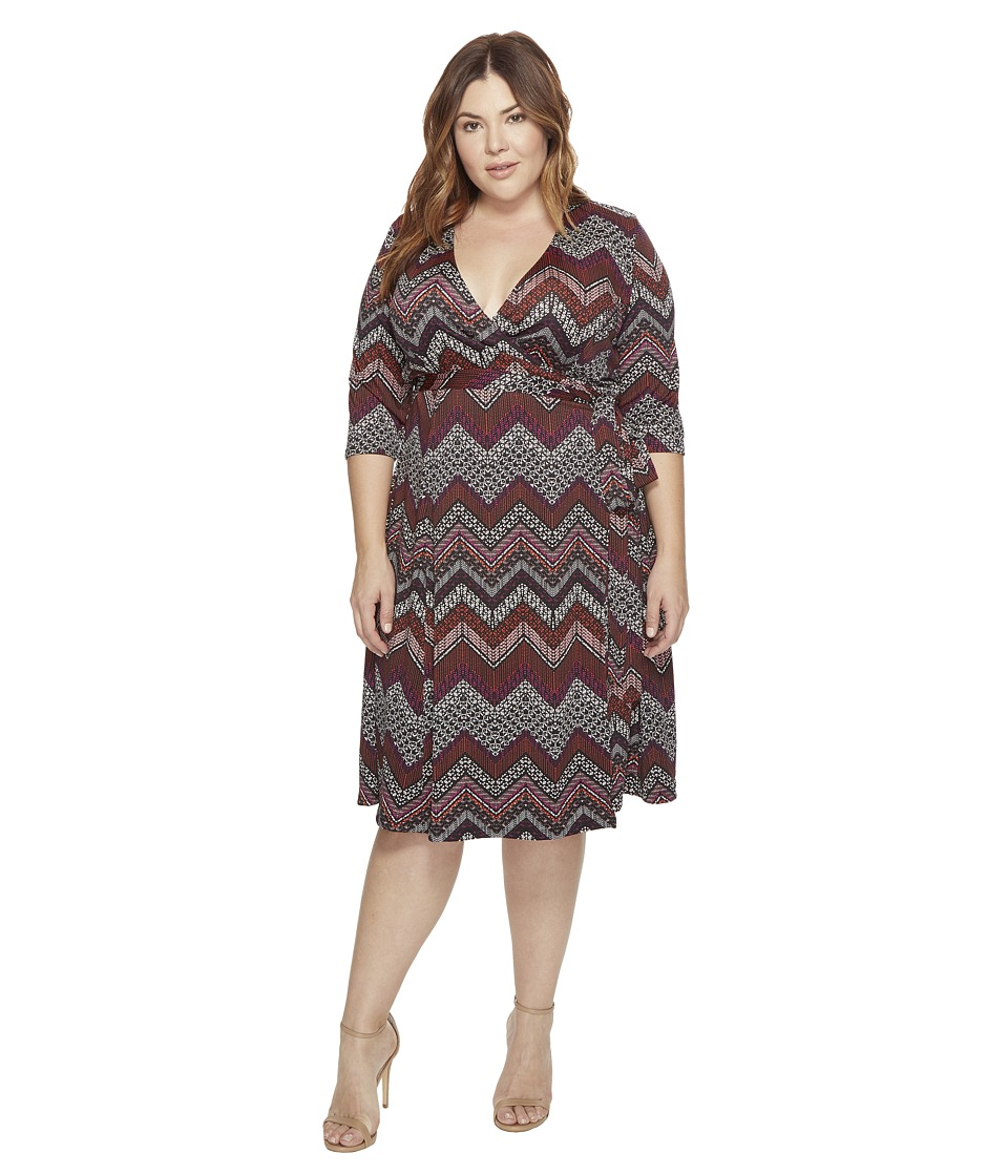 Kiyonna - Essential Wrap Dress (Chevron Mix Print) Women's Dress