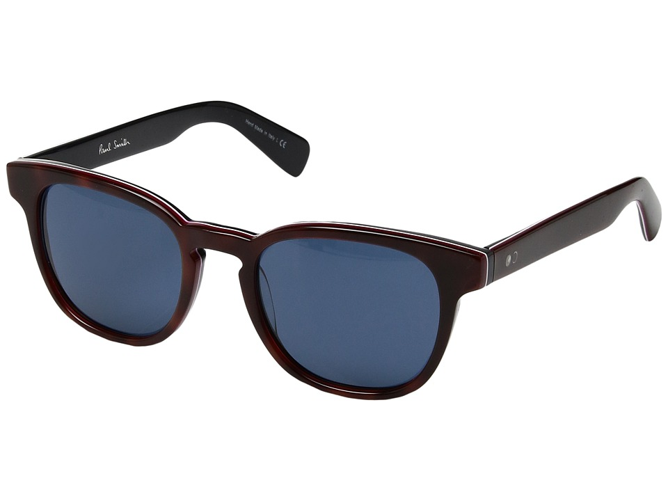 Paul Smith - Hadrian Sun (Cherrywood Stripe/Blue) Fashion Sunglasses