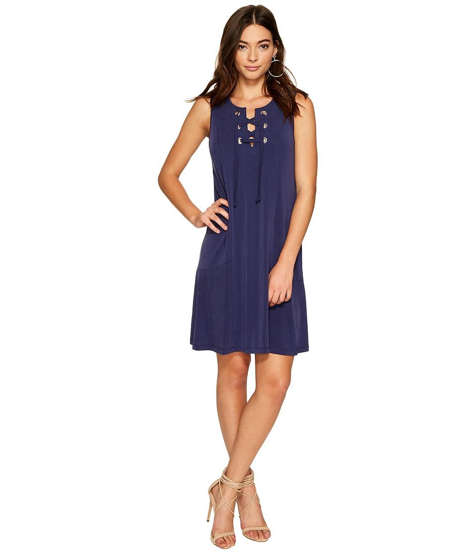 1.STATE - Lace-Up Shift Dress (Evening Sky) Women's Dress
