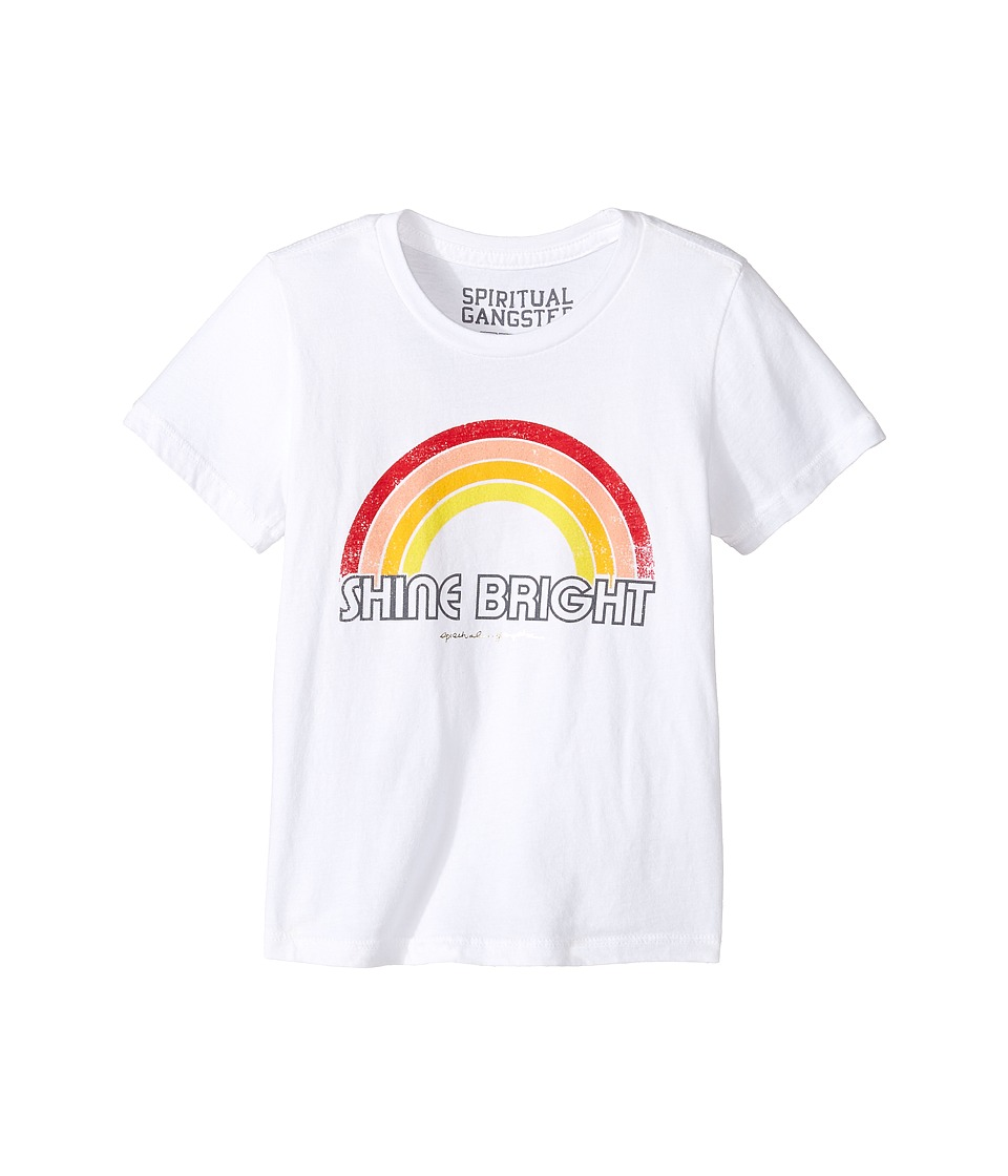 Spiritual Gangster Kids - Retro Rainbow Tee (Toddler/Little Kids/Big Kids) (White) Girl's Clothing