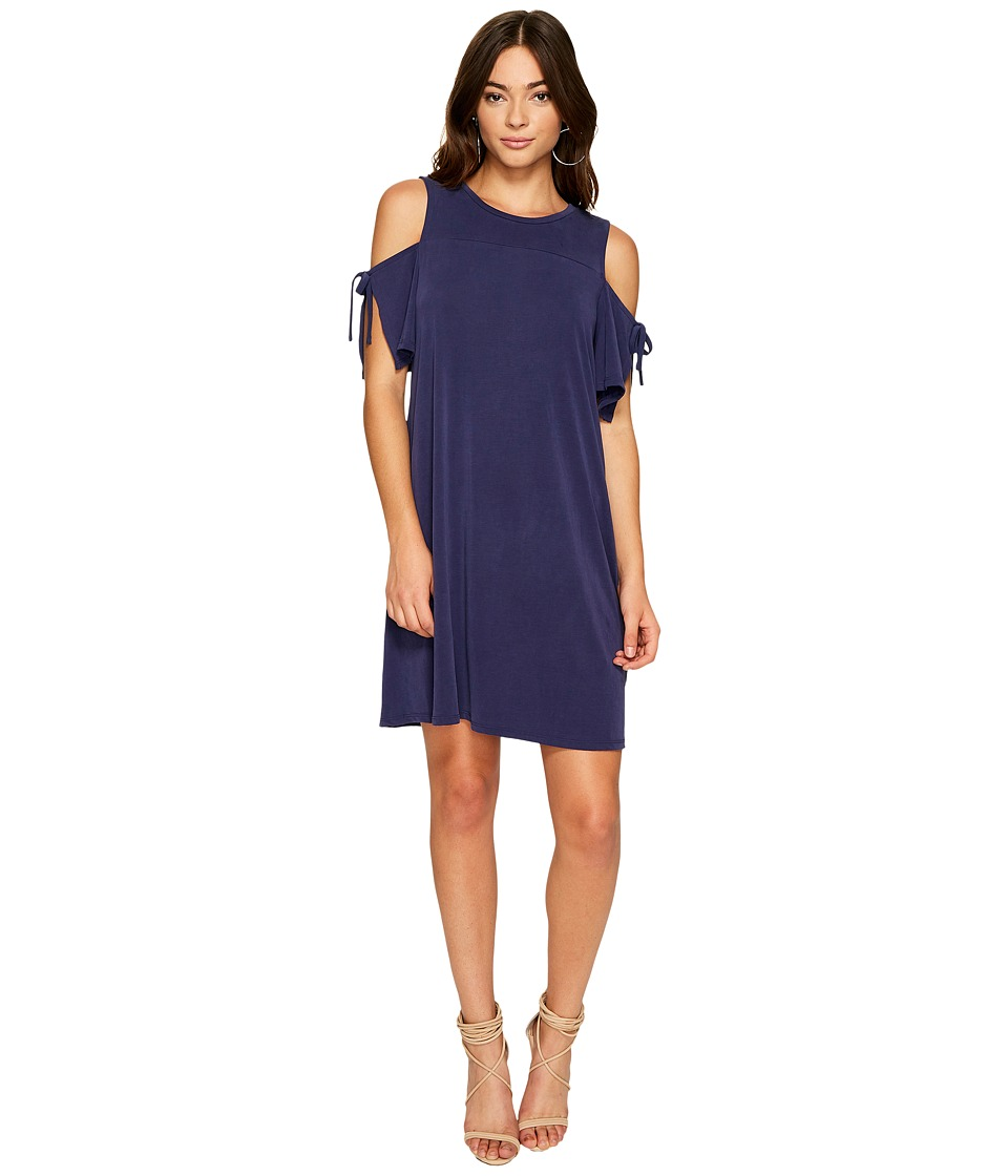 Image of 1.STATE - Cold Shoulder Dress w/ Sleeve Ties (Evening Sky) Women's Dress