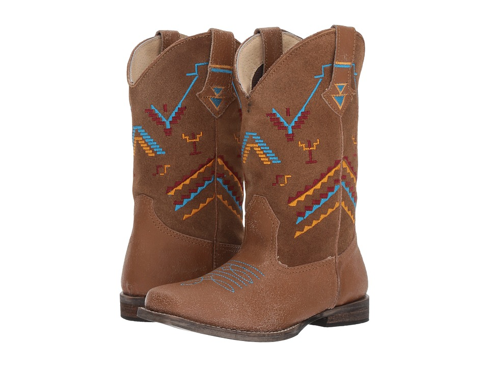 Roper Kids - Hunter (Toddler/Little Kid) (Tan Leather Vamp/Embroidered Shaft) Cowboy Boots