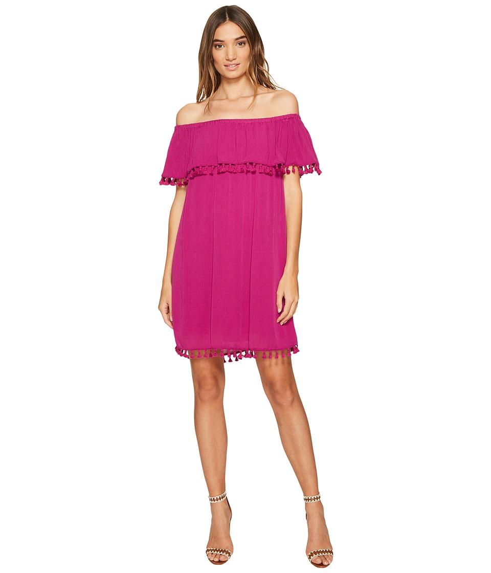 1.STATE - Strapless Ruffle Top Dress w/ Tassels (Tropic Berry) Women's Dress