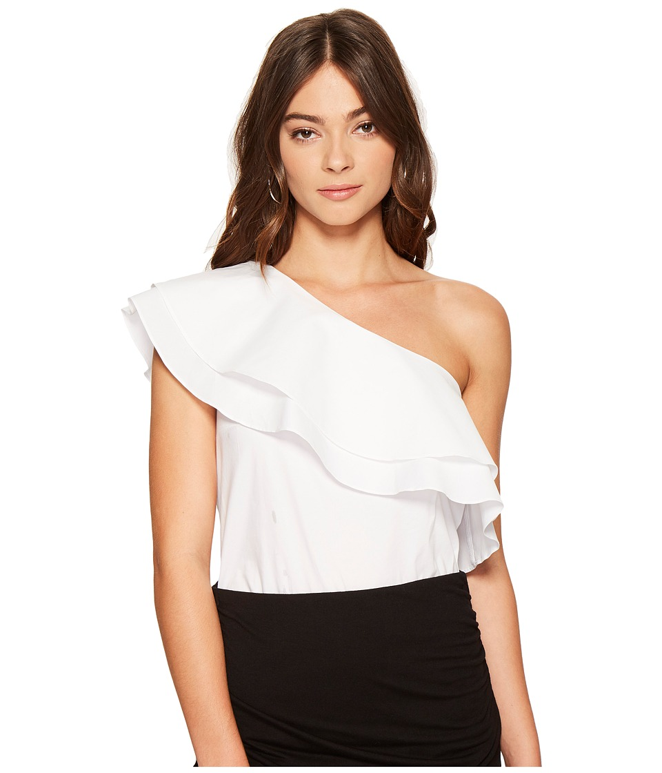 1.STATE - One Shoulder Double Layer Ruffle Blouse (Ultra White) Women's Blouse