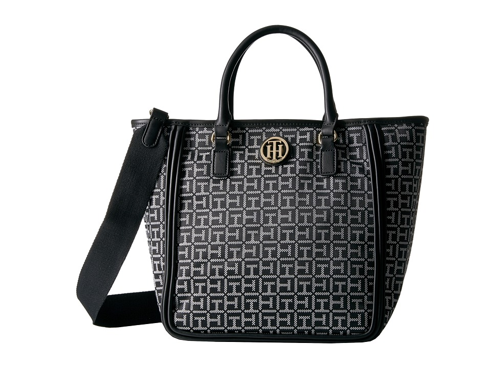 Tommy Hilfiger - Alice Convertible Shopper (Black/White) Tote Handbags
