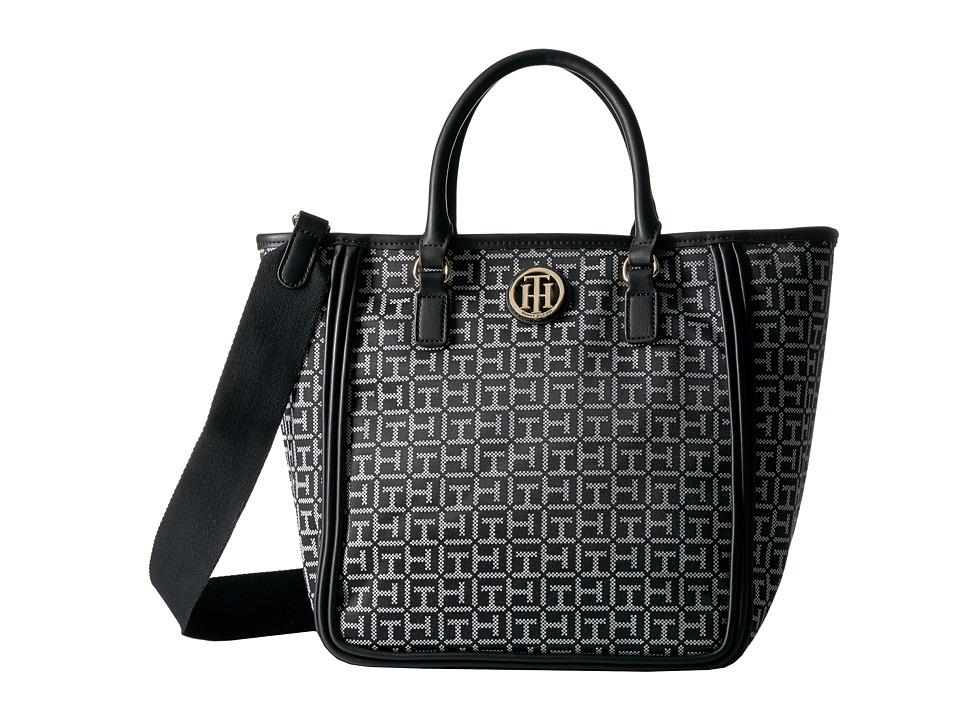 Tommy Hilfiger - Alice Convertible Shopper (Black/White) Tote Handbags