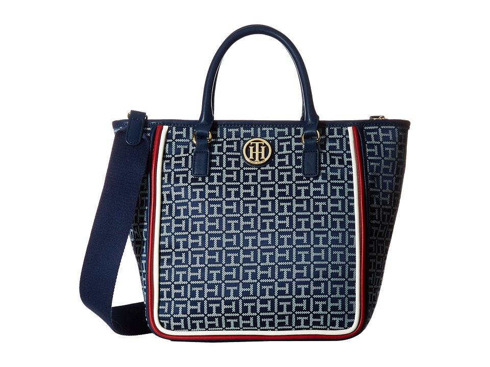 Tommy Hilfiger - Alice Convertible Shopper (Navy/White) Tote Handbags
