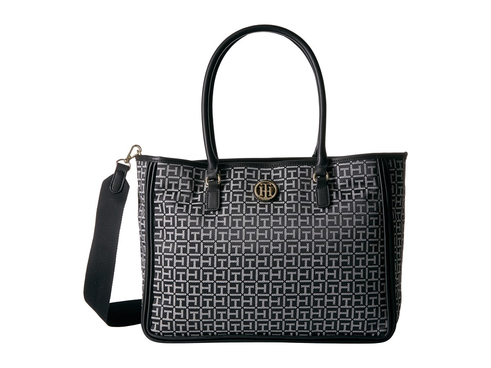 Tommy Hilfiger - Alice Convertible Tote (Black/White) Tote Handbags