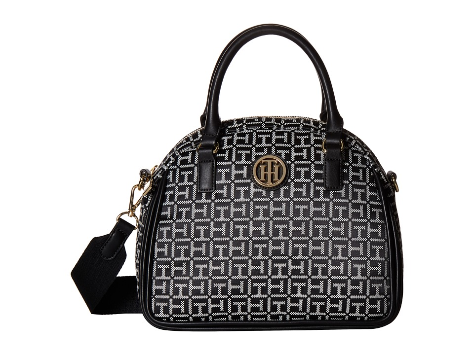Tommy Hilfiger - Alice Small Convertible Satchel (Black/White) Satchel Handbags