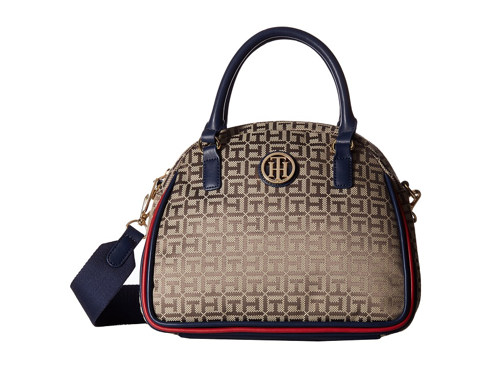 Tommy Hilfiger - Alice Small Convertible Satchel (Tan/Dark Chocolate) Satchel Handbags