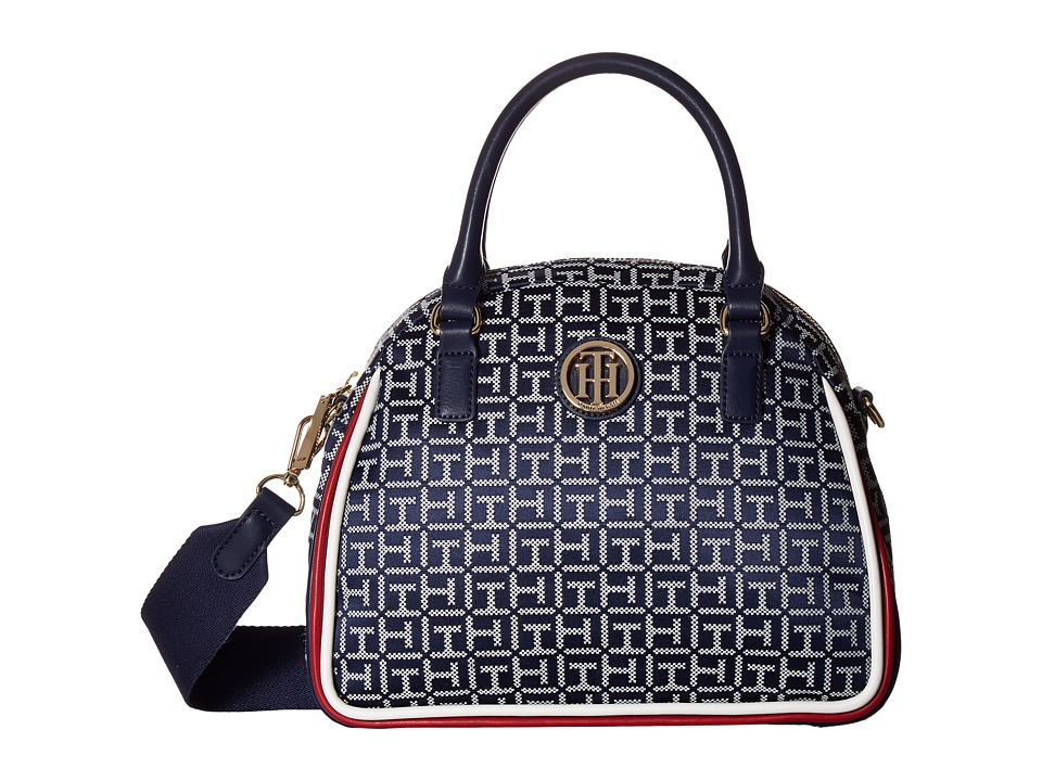 Tommy Hilfiger - Alice Small Convertible Satchel (Navy/White) Satchel Handbags