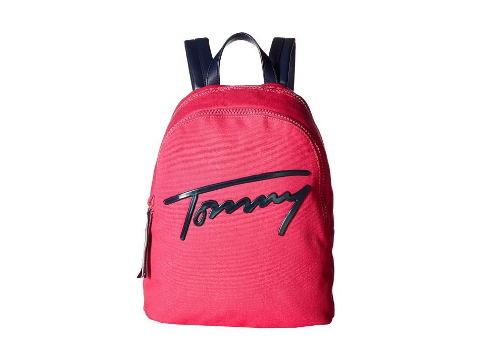 Tommy Hilfiger Tommy Script Backpack Canvas (Bright Rose) Backpack Bags