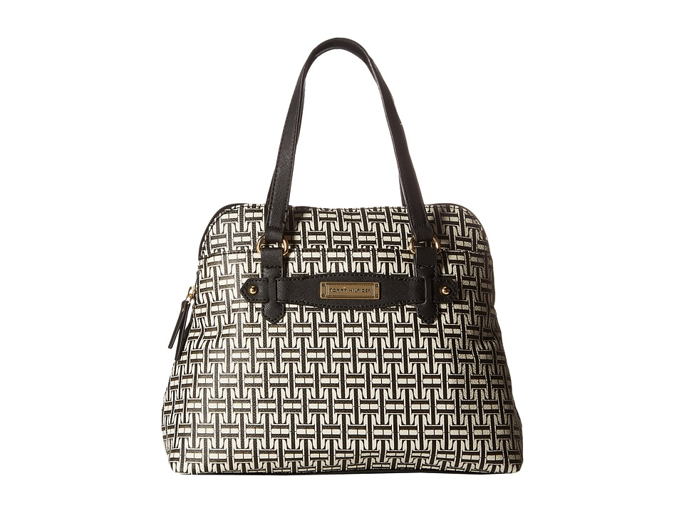 Tommy Hilfiger - Iris II Dome Satchel (Black/Cream) Satchel Handbags
