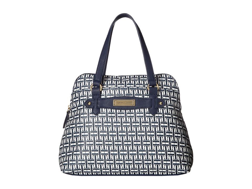 Tommy Hilfiger - Iris II Dome Satchel (Navy/White) Satchel Handbags