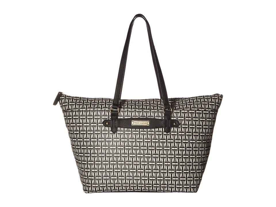 Tommy Hilfiger - Iris II Top Zip Tote (Black/Cream) Tote Handbags