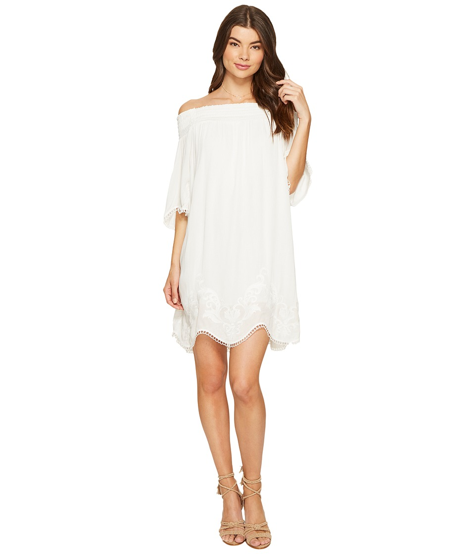 1.STATE - Off Shoulder Embroidered Shift Dress (Cloud) Women's Dress