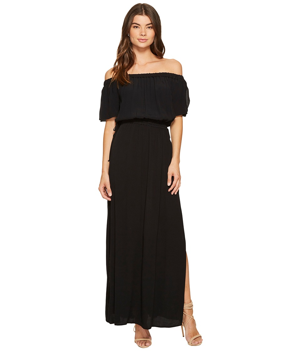 1.STATE Off Shoulder Maxi Drawstring Rich Black Dress