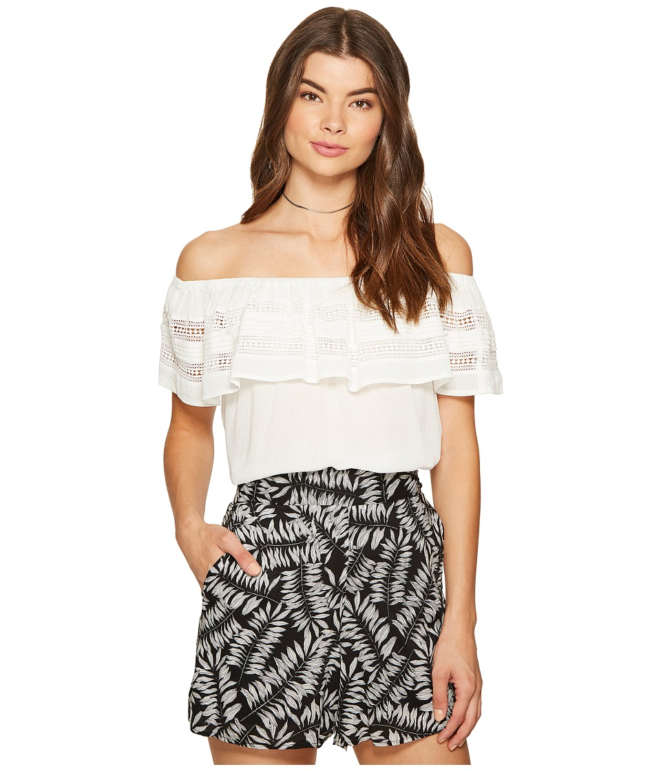 1.STATE - Off Shoulder Ruffle Top w/ Trim (Cloud) Women's Blouse
