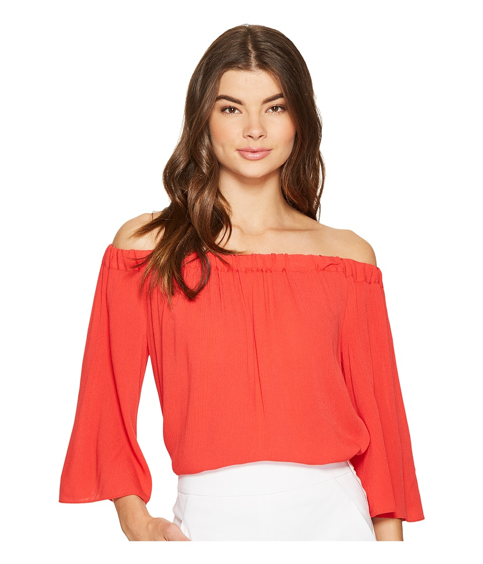 1.STATE - Off Shoulder Bell Sleeve Blouse (Havana Red) Women's Blouse