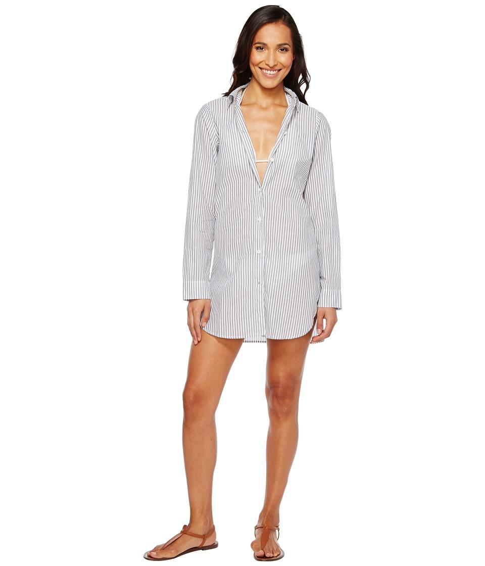 Tommy Bahama Floriana Yarn-Dye Boyfriend Shirt Cover-Up (Mare/White) Women