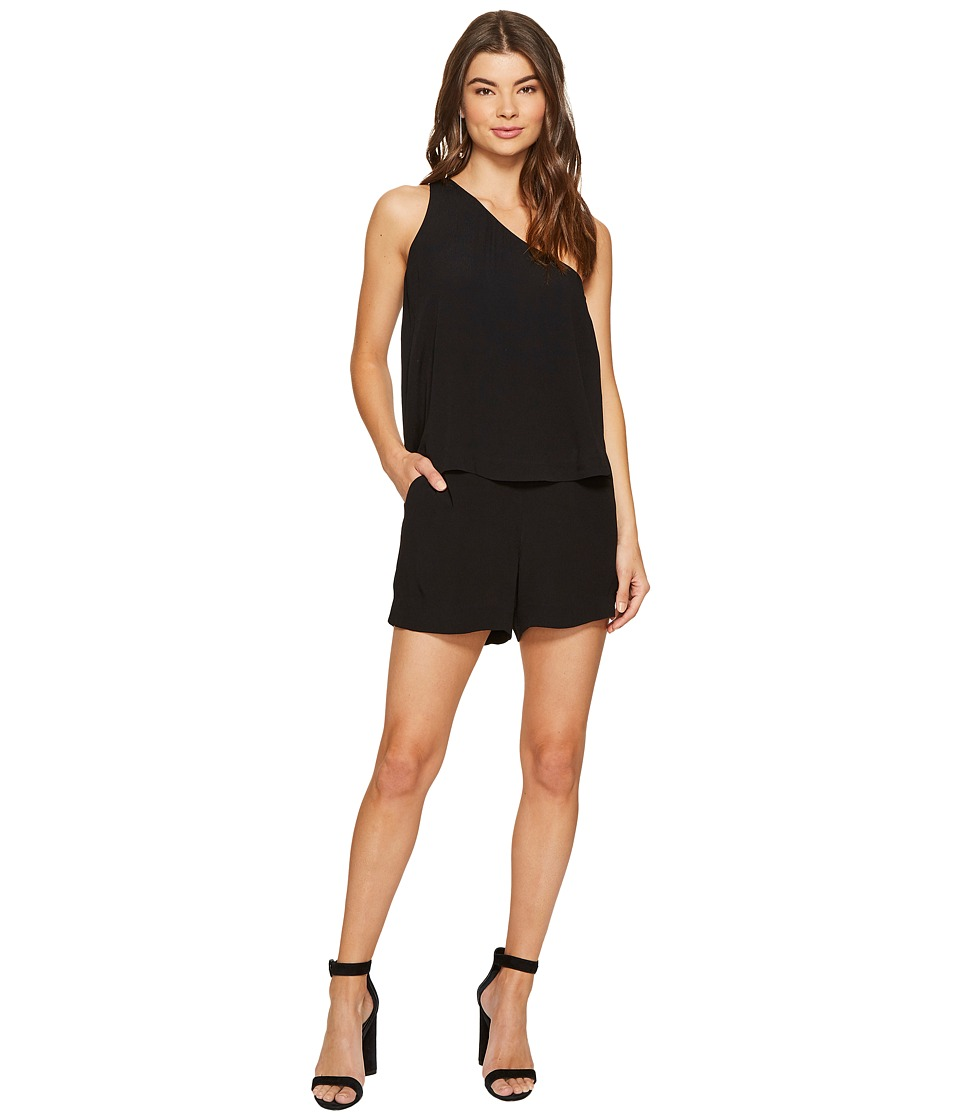 1.STATE - One Shoulder Popover Romper (Rich Black) Women's Jumpsuit & Rompers One Piece