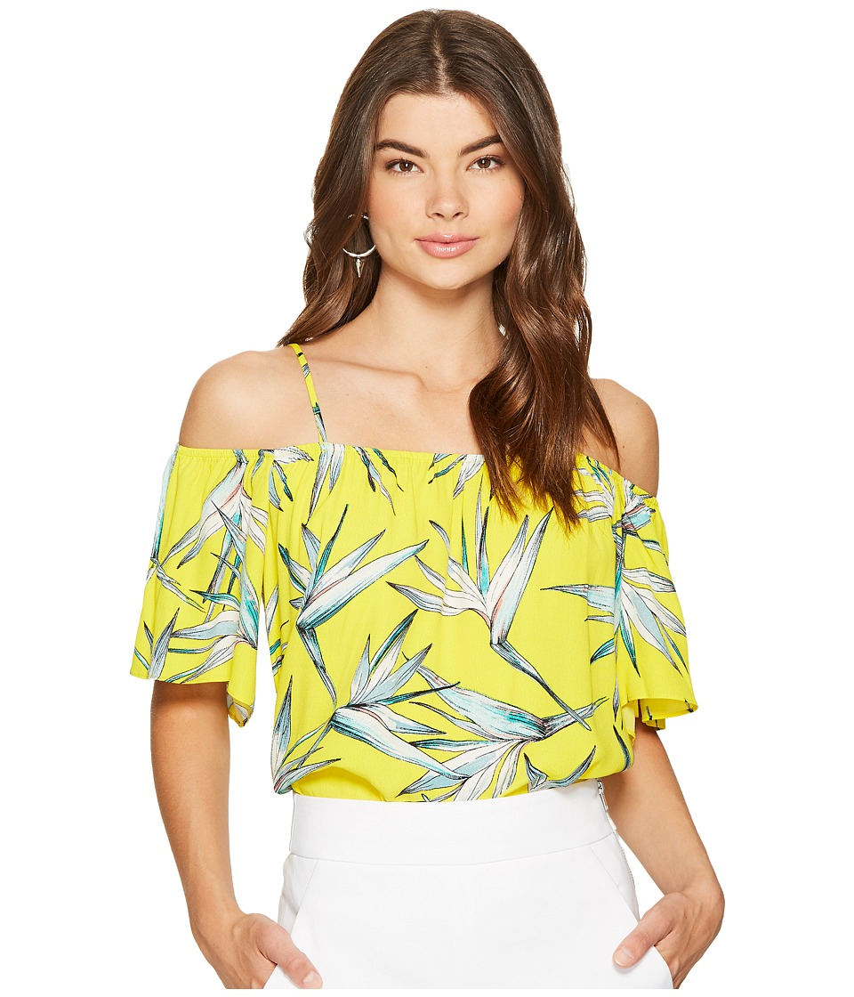 1.STATE - Cold Shoulder Flounce Sleeve Top (Yellow Star) Women's Blouse