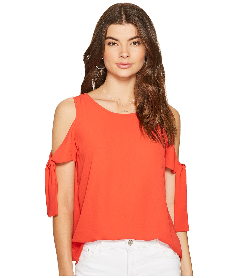 1.STATE - Cold Shoulder Blouse w/ Sleeve Ties (Havana Red) Women's Blouse