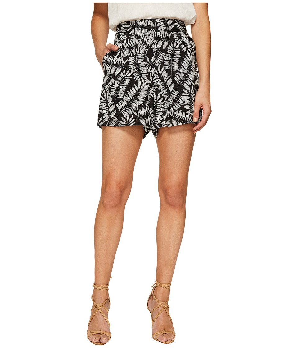 1.STATE - Flat Front Printed Shorts (Rich Black) Women's Shorts