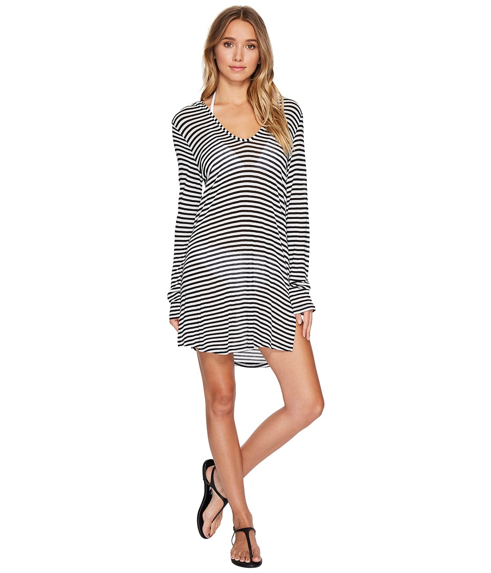 Splendid Itsy Ditsy Floret Hoodie Tunic Cover-Up Black & White Swimwear