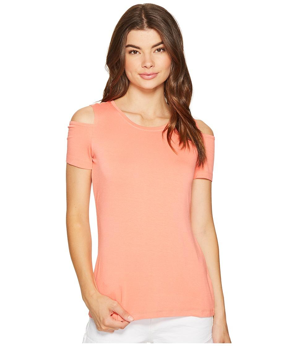 1.STATE - Cold Shoulder Knit Top (Coral Gem) Women's Clothing