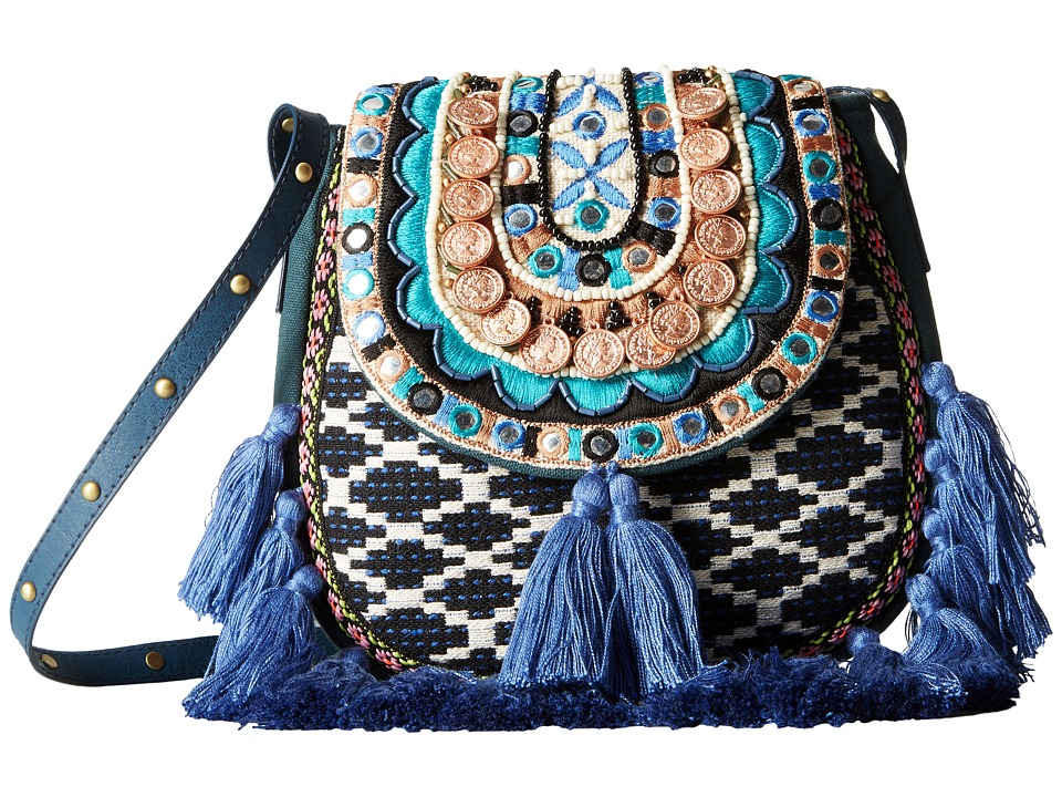 Steven - Jtiva Embellished Fabric Saddle Bag (Blue) Handbags