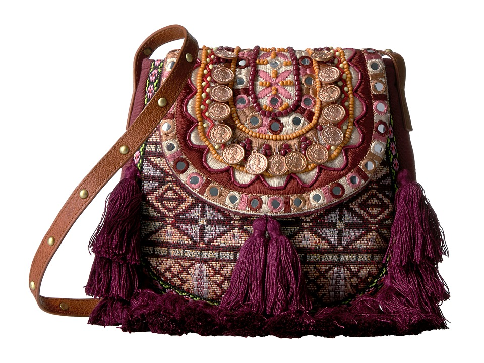 Steven - Jtiva Embellished Fabric Saddle Bag (Berry) Handbags