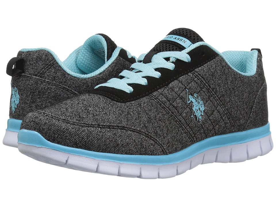 U.S. POLO ASSN. - Cece (Black Heather Jersey/Light Blue) Women's Shoes