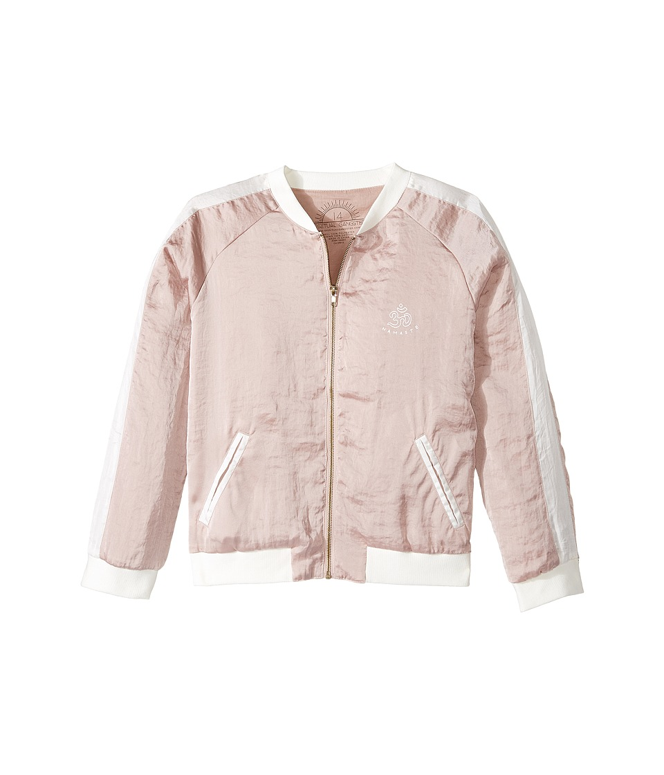 Spiritual Gangster Kids - Good Vibes Only Satin Bomber Jacket (Big Kids) (Blush) Girl's Coat