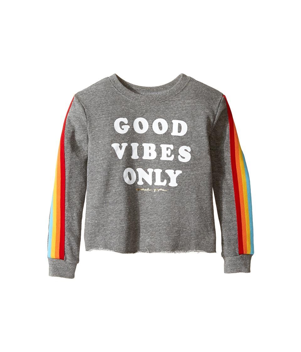 Spiritual Gangster Kids - Good Vibes Only Tee (Toddler/Little Kids/Big Kids) (Heather Grey) Girl's Long Sleeve Pullover