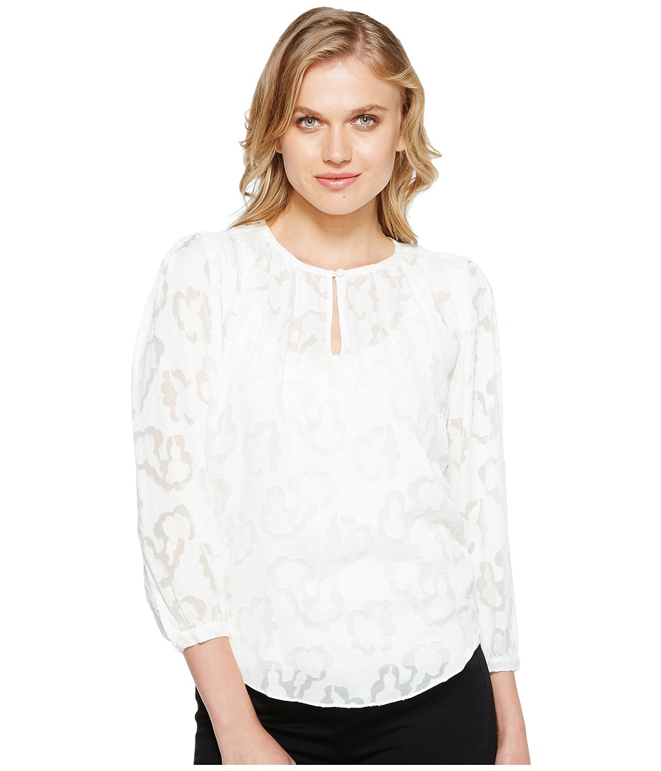 Rebecca Taylor - Long Sleeve Satin Jacquard Top (Snow) Women's Clothing