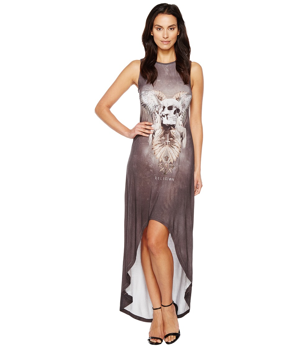 Religion - Virtue Maxi Dress (Skulls Wing Print) Women's Dress