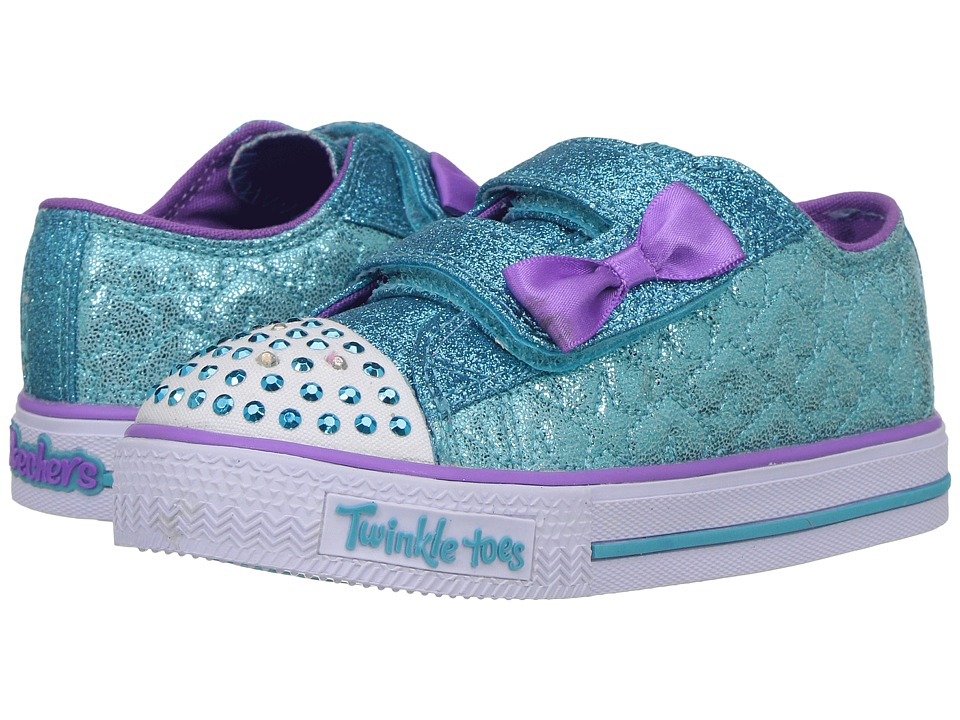 SKECHERS KIDS - Twinkle Toes - Shuffles 10600N Lights (Toddler/Little Kid) (Turquoise/Purple) Girls Shoes