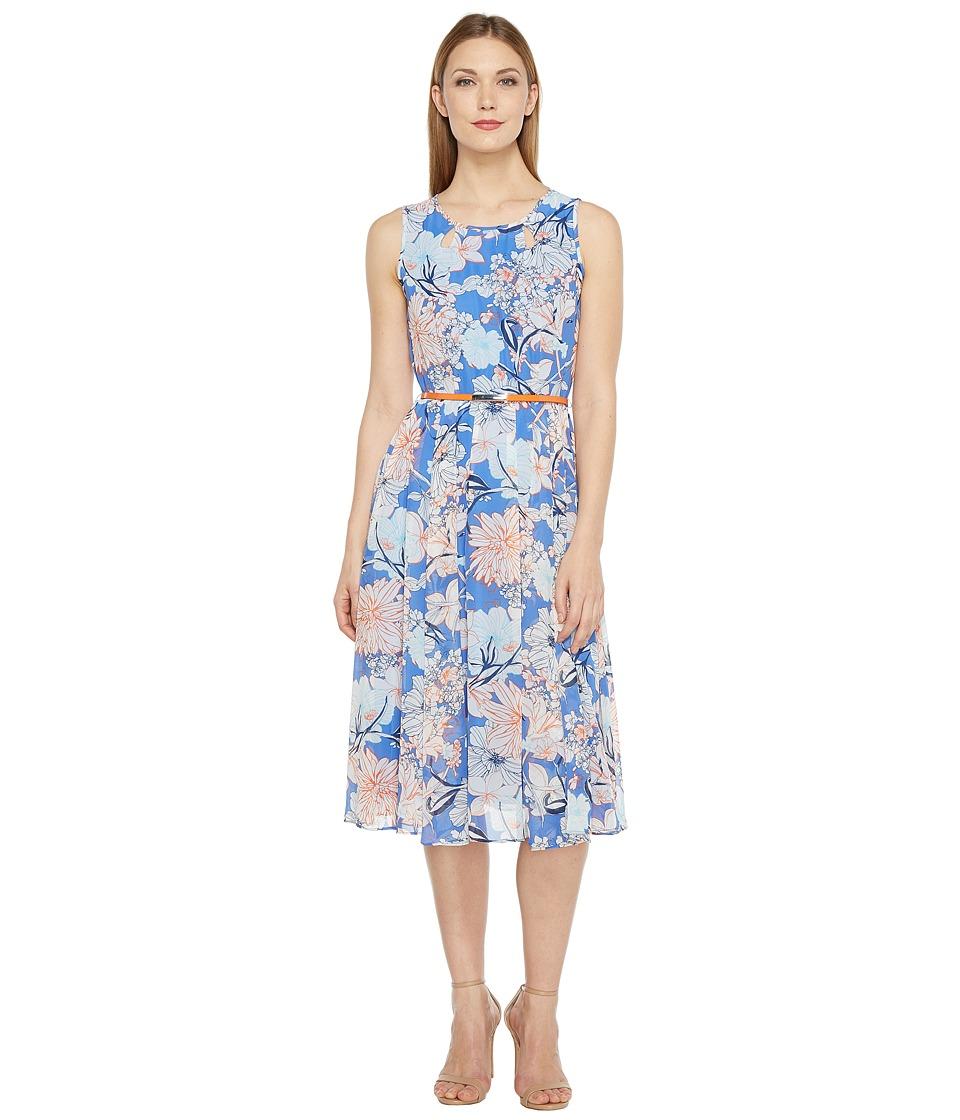 Christin Michaels Danielle Sleeveless Floral Dress with Belt (Perwinkle/Orange) Women