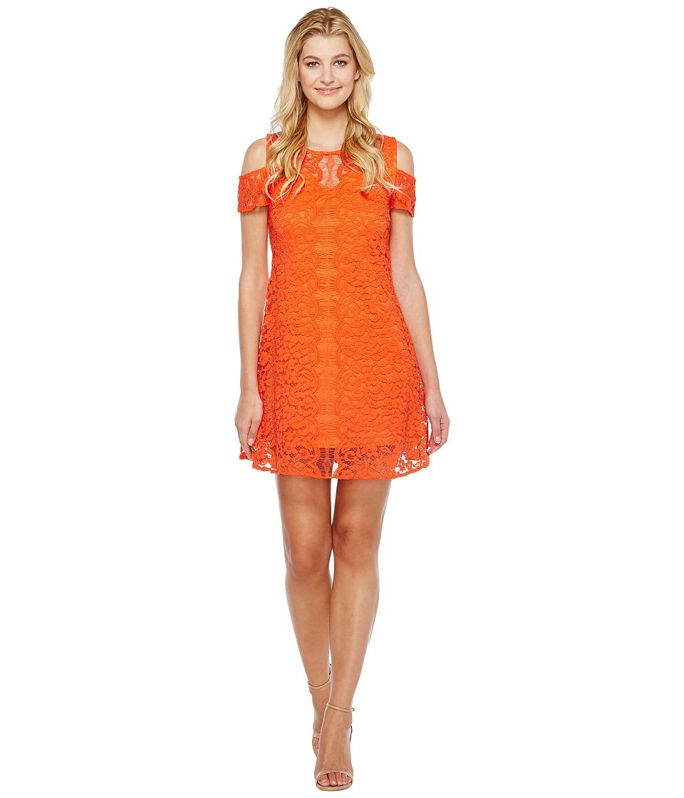 Christin Michaels - Jeannine Cold Shoulder Lace Dress (Orange) Women's Dress