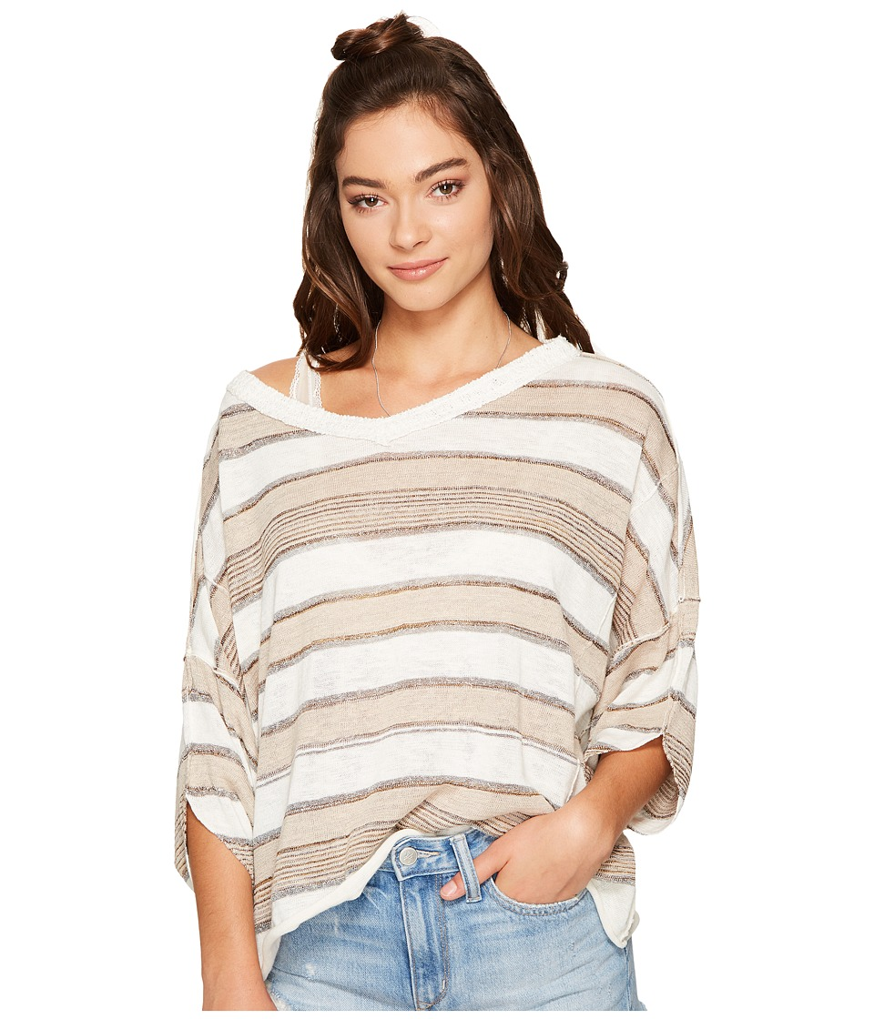 Free People - Love Me Too V-Neck (Neutral Combo) Women's Clothing