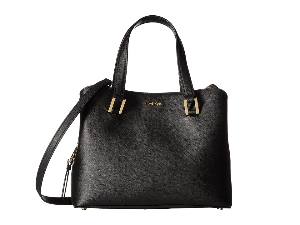 Calvin Klein - Cindy Saffiano Satchel (Black/Gold) Satchel Handbags