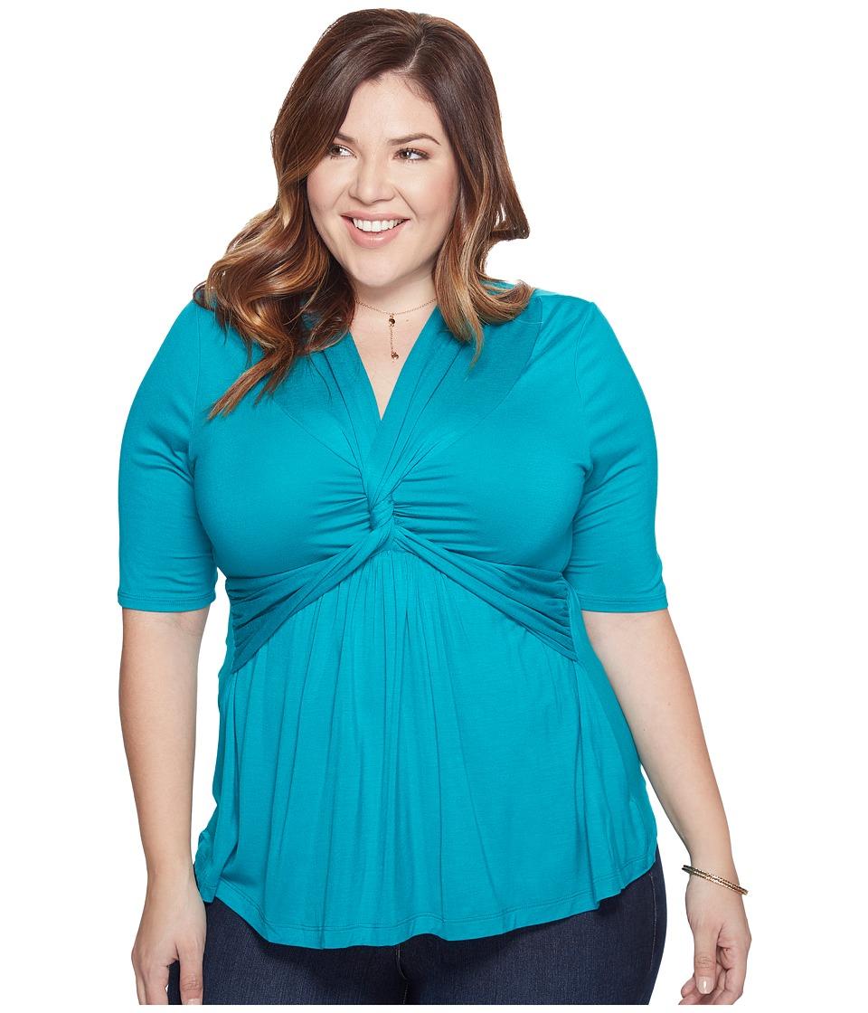 Kiyonna Caycee Twist Top (Jade) Women's Short Sleeve Pullover